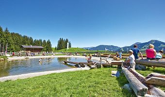 Bathing lake in Brixen im Thale